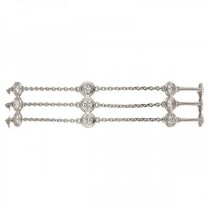 3 Row Bezel Set Diamonds By The Yard Anklet 14K White Gold (2.00ct)
