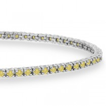 Fancy Yellow Eternity Diamond Tennis Bracelet 14k White Gold (2.10ct)