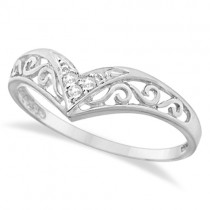 Antique Style Chevron Diamond Ring 14k White Gold (0.05ct)