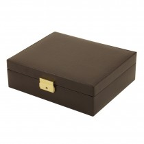 Brown Leather Velour Lined 4 Watch Case & Valet w/ Removable Tray