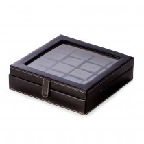 Black Leather 20 Cufflink Box with Glass Top and Snap Closure