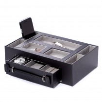 Pigskin Leather Lined Open Face Valet Box w/ Drawer