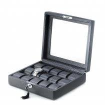Black Leatherette Woven  15 Watch Case w/ Glass Top and Locking Clasp