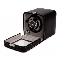 Black Leather Single Watch Winder w/ Glass Door and Locking Clasp