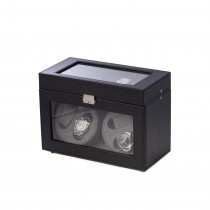 Black Leather 4 Watch Winder w/ 5 Watch Case, & Selectable Rotation