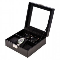 Black Leather Watch and Accessory Case w/ Glass Top and Locking Clasp