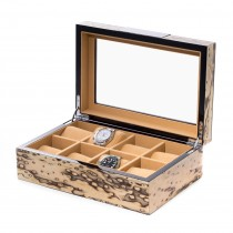 Exotic Ice Wood 8 Watch Case w/ Glass Top and Velour Lining