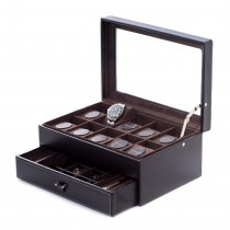 Black Leather 10 Watch Case w/ Glass Top, Drawer for Cufflinks & Pens