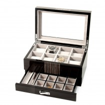 Wenge Wood 8 Watch Box w/ Glass Top, Drawer for Cufflinks & Pens