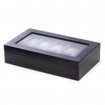 Matte Wood 10 Watch Box w/ Glass Top and Velour Lining & Pillows