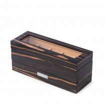 Wood 5 Watch Box w/ Glass Top, Drawer & Chrome Accents