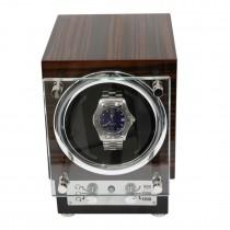 Ebony Burlwood Watch Winder w/ Glass Door & Selectable Rotation