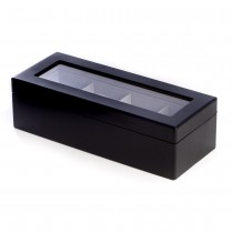Matte Wood 4 Watch Box w/ Glass Top and Velour Lining & Pillows