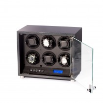 Carbon Fiber 6 Watch Winder w/ Glass Door & Selectable Rotation