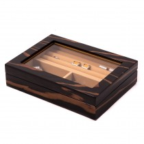 Wood Valet Box w/ Glass Top & Magnetic Closure