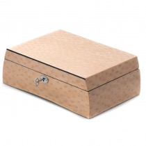 Salmon Burl Wood Jewelry Box w/ Removable Tray & Slots for Rings