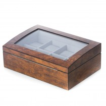 Brown Burl Wood 8 Watch Case w/ Glass Top & Stainless Accents
