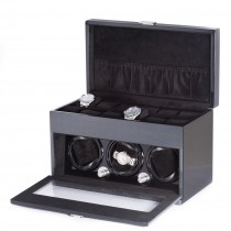 Carbon Fiber Steel Gray 3 Watch Winder w/ Settings for 12 Watches