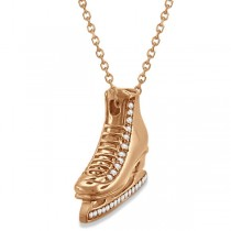 Ice Skate Necklace Pendant Diamond Accented 14k Rose Gold (0.26ct)