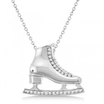 Ice Skate Necklace Pendant Diamond Accented 14k White Gold (0.26ct)