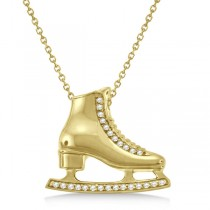 Ice Skate Necklace Pendant Diamond Accented 14k Yellow Gold (0.26ct)