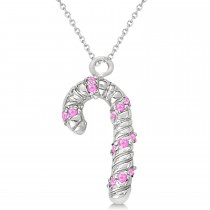 Pink Sapphire Candy Cane Pendant Necklace 14k White Gold (0.07ct)