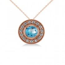 Round Blue Topaz & Diamond Halo Pendant Necklace 14k Rose Gold (1.81ct)