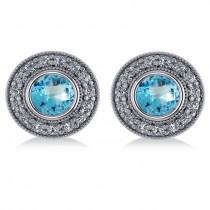 Blue Topaz & Diamond Halo Round Earrings 14k White Gold (3.62ct)