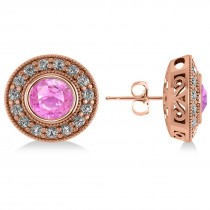 Pink Sapphire & Diamond Halo Round Earrings 14k Rose Gold (3.72ct)