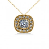 Diamond Halo Cushion Pendant Necklace 14k Yellow Gold (1.26ct)