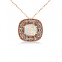 Opal & Diamond Halo Cushion Pendant Necklace 14k Rose Gold (0.97ct)
