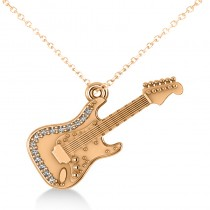 Diamond Guitar Music Pendant Necklace 14k Rose Gold (0.07ct)