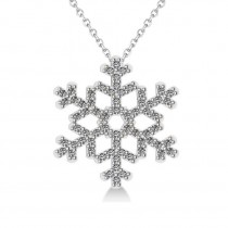 Diamond  Snowflake Pendant Necklace 14k White Gold (0.66ct)