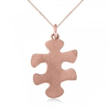 Puzzle Piece Pendant Necklace in Textured 14k Rose Gold