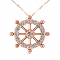 Diamond Ship's Wheel Pendant Necklace in 14k Rose Gold (0.50ct)