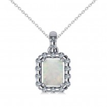 Diamond & Emerald Cut Opal Halo Pendant Necklace 14k White Gold (0.84ct)