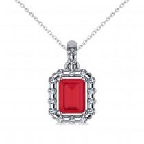 Diamond & Emerald Cut Ruby Halo Pendant Necklace 14k White Gold (1.39ct)
