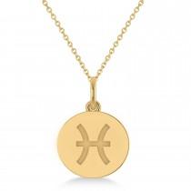 Pisces Disk Zodiac Pendant Necklace 14k Yellow Gold