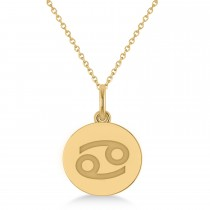 Cancer Disk Zodiac Pendant Necklace 14k Yellow Gold