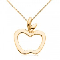 Hollow Apple Pendant Necklace in Plain Metal 14k Yellow Gold