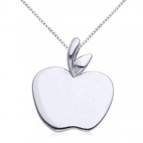 Solid Apple Pendant Necklace in Plain Metal 14k White Gold