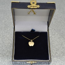 Solid Apple Pendant Necklace in Plain Metal 14k Yellow Gold