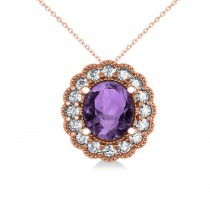 Amethyst & Diamond Floral Oval Pendant Necklace 14k Rose Gold (2.98ct)