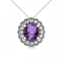 Amethyst & Diamond Floral Oval Pendant Necklace 14k White Gold (2.98ct)