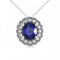 Blue Sapphire & Diamond Floral Oval Pendant Necklace 14k White Gold (2.98ct)