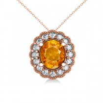 Citrine & Diamond Floral Oval Pendant Necklace 14k Rose Gold (2.98ct)