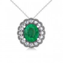 Emerald & Diamond Floral Oval Pendant Necklace 14k White Gold (2.98ct)