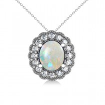 Opal & Diamond Floral Oval Pendant Necklace 14k White Gold (2.98ct)