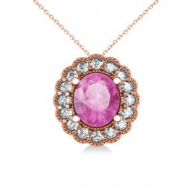 Pink Sapphire & Diamond Floral Oval Pendant Necklace 14k Rose Gold (2.98ct)