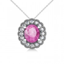 Pink Sapphire & Diamond Floral Oval Pendant Necklace 14k White Gold (2.98ct)